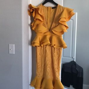 Mustard Ruffle Detail Plunge Midi Dress USA size 6